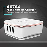A6704 QC2.0 6ポートUSBクイックチャージャーヘッド高速充電旅行携帯電話充電器(カラー:ホワイト)