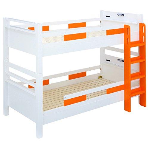高耐荷重 耐震 宮付 エコ塗装 二段ベッド クレイユ (ホワイト×オレンジ)