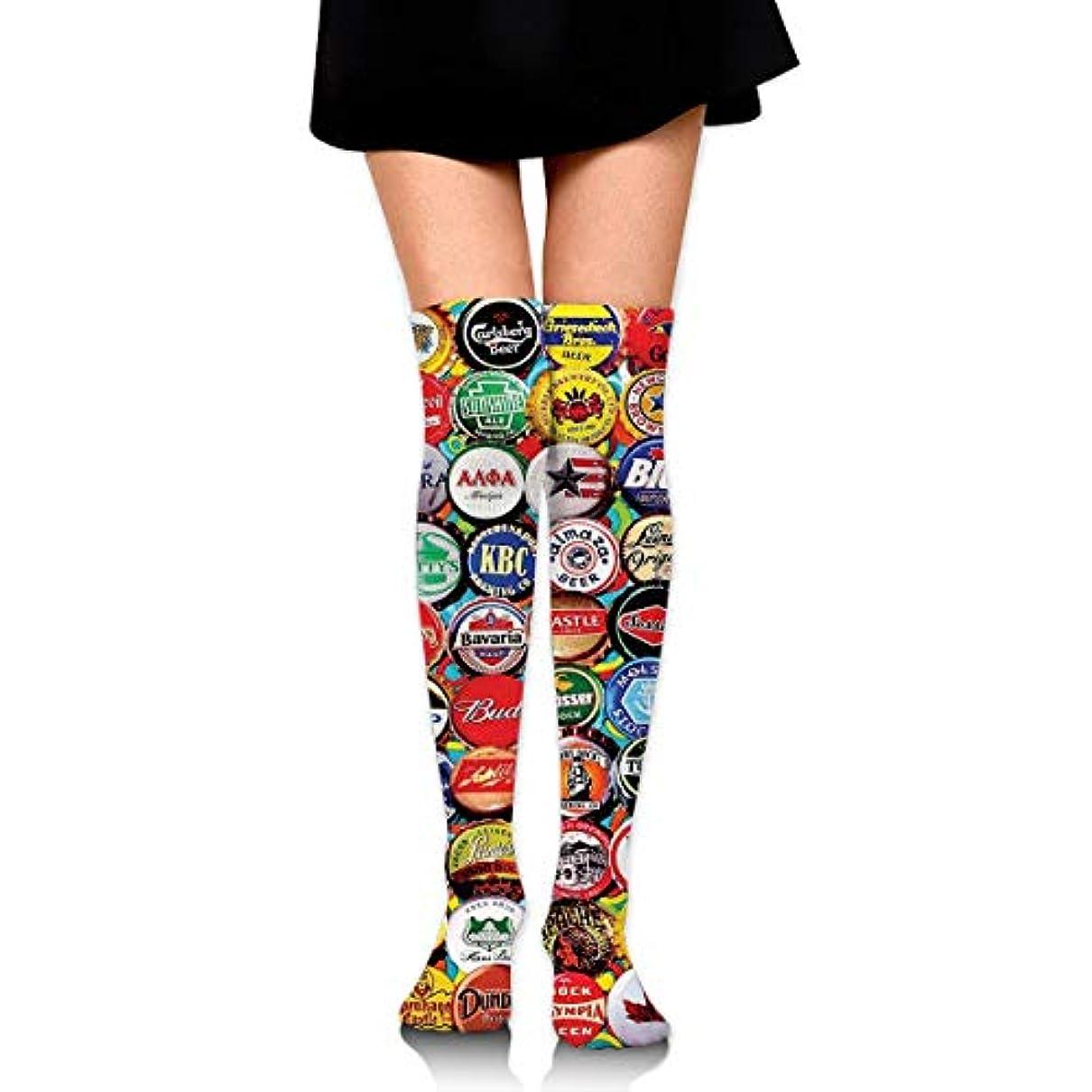 天皇うるさいハードMKLOS 通気性 圧縮ソックス Breathable Extra Long Cotton Thigh High World Beer Bottle Caps Set Socks Over Exotic Psychedelic...
