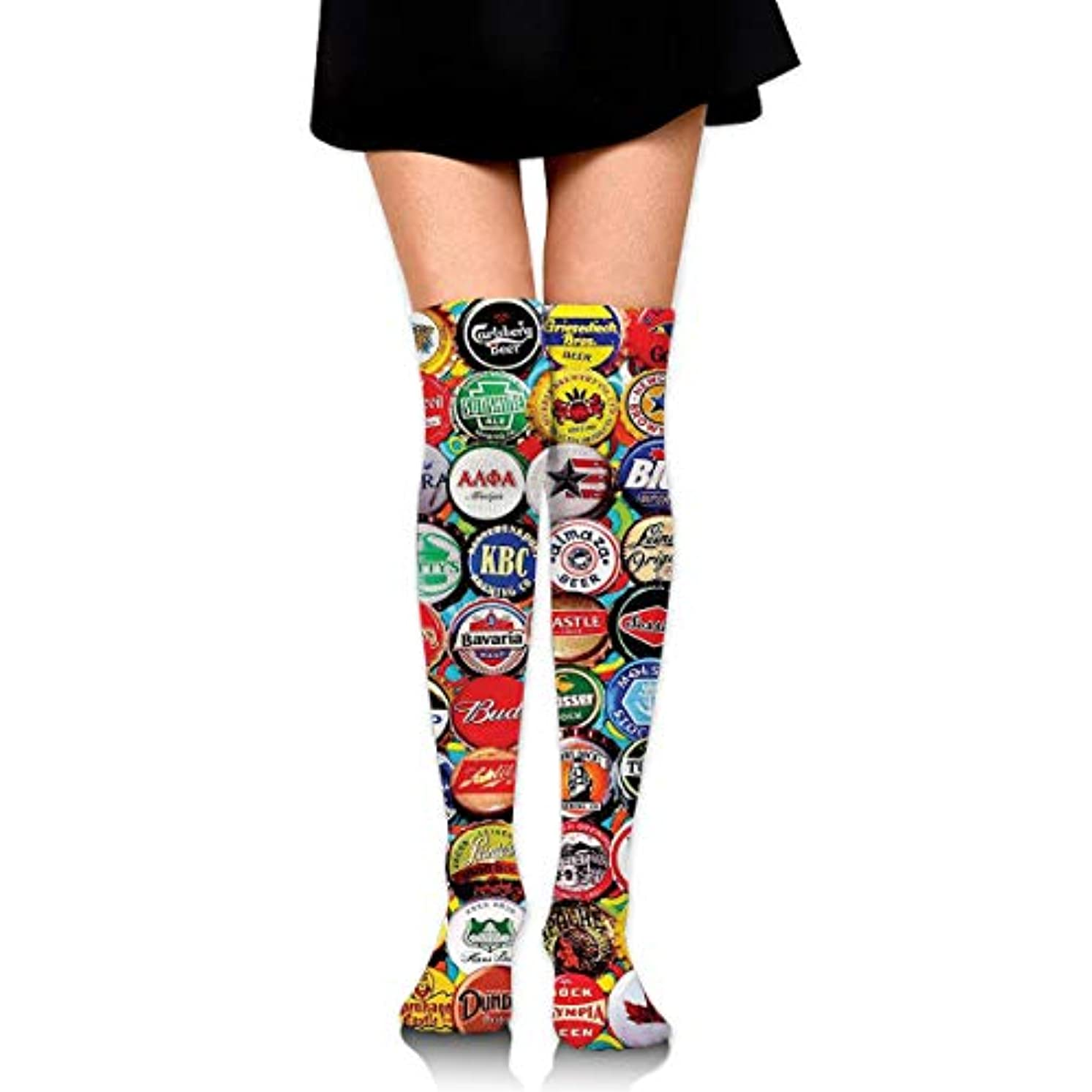 観光しなければならない上がるMKLOS 通気性 圧縮ソックス Breathable Extra Long Cotton Thigh High World Beer Bottle Caps Set Socks Over Exotic Psychedelic...