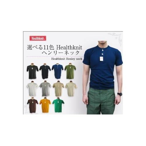 Healthknit(ヘルスニット) ヘンリーネックTシャツ 906 11色展開 アメリカンコットンを使用した男らしい1着 (ホワイト, Mサイズ)
