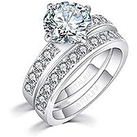 Italina Fashion Jewelry 2 Piece Wedding Band Set White Bright Round Cubic Zirconia Stones for Women Gift Rhodium/Rosegold/Gold Plating