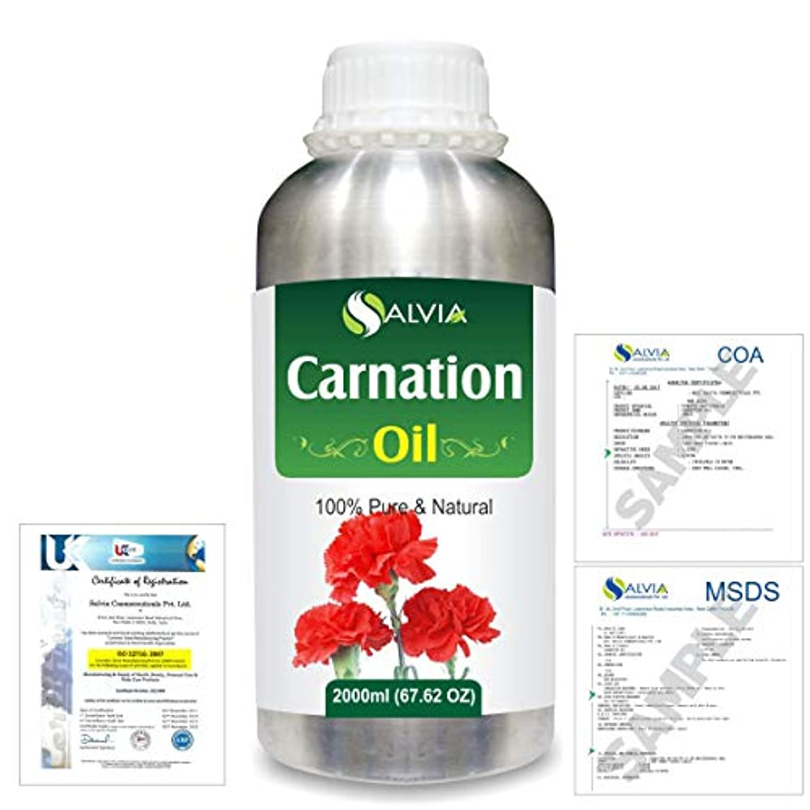 不可能なロール手紙を書くCarnation (Dianthus caryophyllus) 100% Natural Pure Essential Oil 2000ml/67 fl.oz.