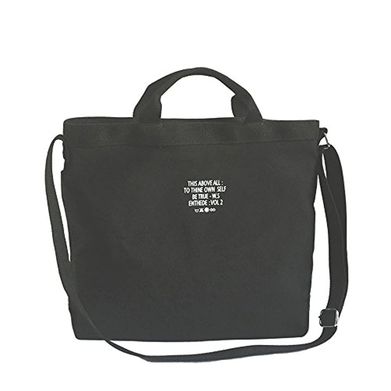 Umetoo ショルダーバッグ キャンバス 2way 英字 大容量 トートバッグ おしゃれ 男女兼用 斜め掛けバッグ