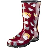 Sloggers Women's Waterproof Rain and Garden Boot with Comfort Insole, Chickens Barn Red, Size 11, Style 5016CBR11