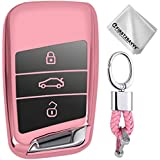 Full Protection Key Shell TPU Cover for VW Volkswagen Tiguan MK2 Passat B7 B8 CC 2017 2018 Skoda Superb A7 Keyless Entry Cover Soft Holder Case with Keychain Pink