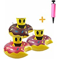HANTAJANSS Inflatable Cup Holders Pool Drink Holder for Water Fun Swimming Floats Donuts Pack of 6 with a Mini Air Pump [並行輸入品]