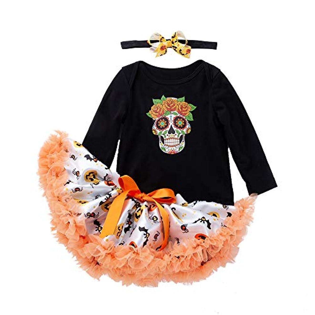 ストライプ浮浪者申し立てられた(プタス) Putars 新生児のハロウィンのロンパー+ツツーのスカートジャンプスのハロウィーンの衣装 3 ヶ月-18 ヶ月