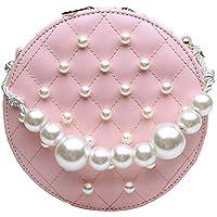 Adebie - Circular PU Chains Pearl Messenger Bags for Women 2019 Mini New Summer Sweet Shoulder Handbags Fashion Famous Brand Tote Bag Pink []