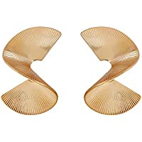 Gold fashion geometric fan earrings Spiral earrings Rotate Shape earrings