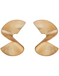 Gold fashion geometric fan earrings Spiral earrings Rotate Shape earrings