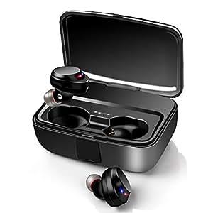 【最新Bluetooth5.0+EDR搭載 3000mAh充電ケース付 IPX7防水】イヤホン Keciepo bluetooth earphone 80時間連続駆動 自動ペアリング Hi-Fi高音質 軽量 Siri対応 CVC8.0ノイズキャンセリング&AAC8.0対応 完全ワイヤレス ブルートゥース イヤホン スポーツ 左右分離型 技適認証済 iPhone/ipad/Android対応 ブラック