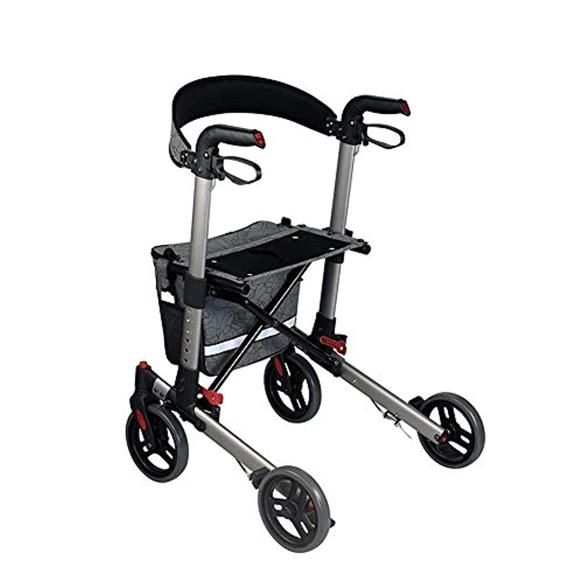太字無効残酷な軽量折りたたみ式4輪歩行歩行器、老人歩行カートショッピングカート多機能レジャー折りたたみショッピングカート