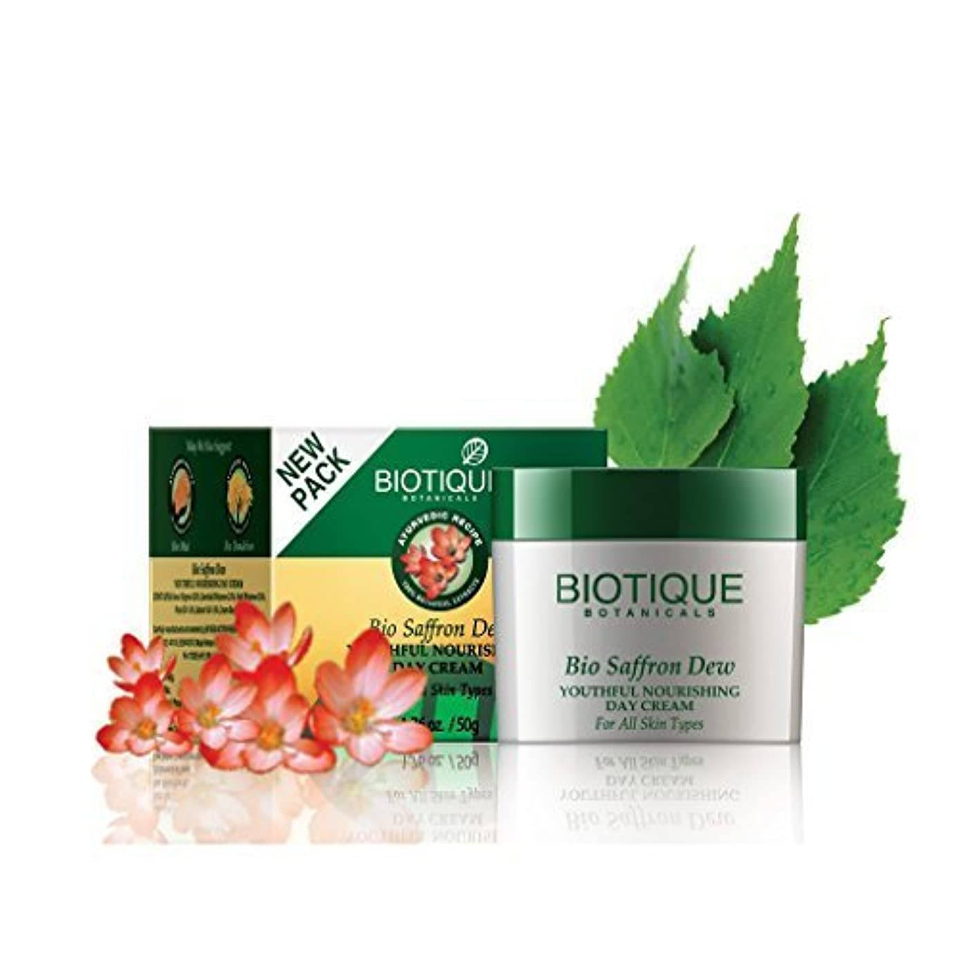 出席する再生的思想Biotique Saffron Dew 50g -- Ageless face & body cream by Biotique [並行輸入品]