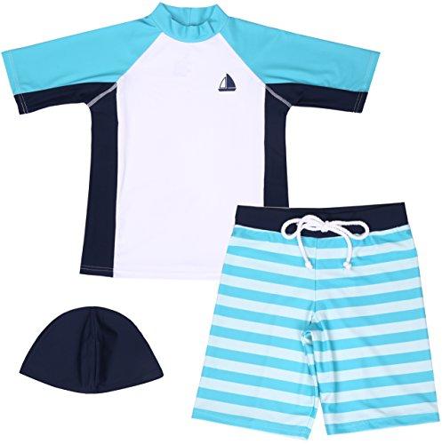 【Asbrio】水着男の子UPF50+ボーダー柄パンツグリーンラッシュガード帽子80〜130cm(100)