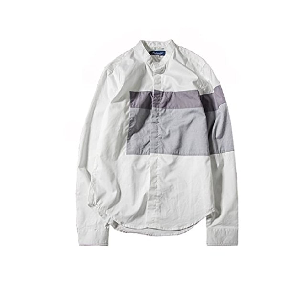 彼女のギャング赤ちゃんSpinas(スピナス) スタイリッシュ メンズ 長袖 バイカラー 配色 クロス切替 シャツ ラグスタイル ホワイト