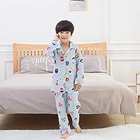 Ladies Dressing Gown Pajamas 2019 New Children's Cartoon Cute Cotton Pajamas air Cotton Tracksuit Boys and Girls Bathrobe (Color : White, Size : 110cm) Housecoat Loungewear Bathrobe