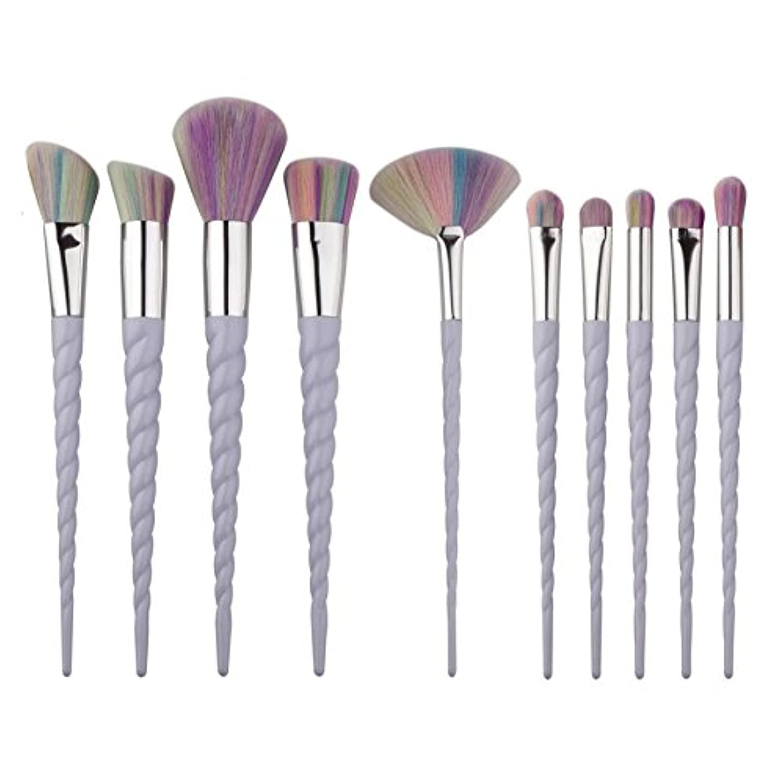 King Love Star プロフェッショナル10個ユニコーンメイクブラシ非常に柔らかい髪メイクブラシセット基盤パウダーブラシ (紫虹の髪)
