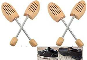 木製 シューキーパー (シューツリー) スプリング式 2足セット 26.0-27.0㎝