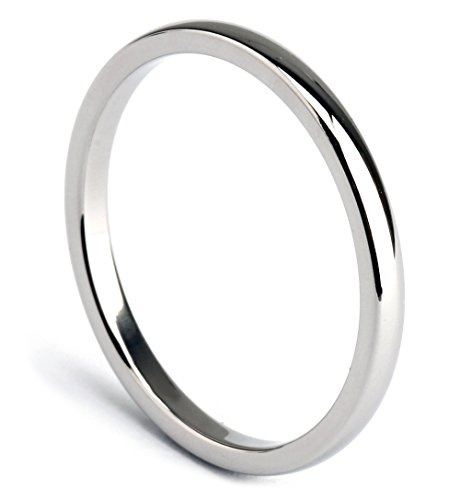TICENTRAL チタン リング メンズ レディース 指輪 ピンキーリング 研磨 甲丸 2mm 極細 シンプル ジュエリー カラー:シルバー(銀) (17)