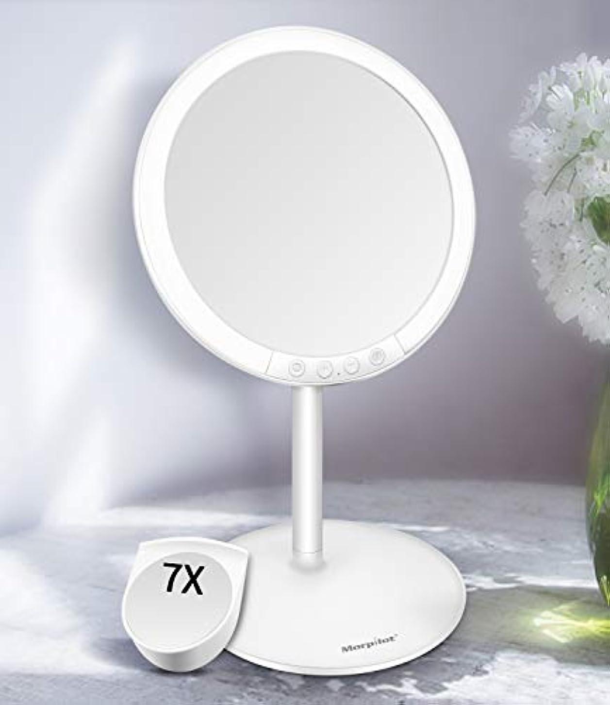 不毛のマルクス主義者計画的Motpilot 化粧鏡 卓上ミラー 鏡 化粧ミラー 女優ミラー LEDミラー スタンドミラー USB充電式 寒暖色調節可能 明るさ7段階調節可能 7倍拡大鏡付き 120°回転 ホワイト