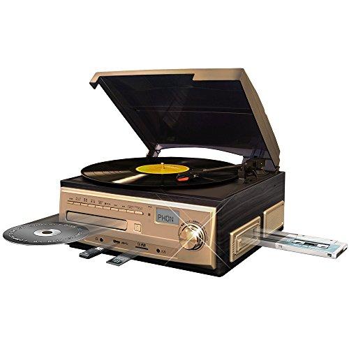 ベルソス マルチレコードプレイヤー 【 レコード カセット CD ラジオ USB SD 外部音源 】 再生・録音可能 ステレオ ブラウンウッド調 MP9260