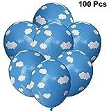 LEDMOMO LEDMOMO 100個バルーン空雲プリントラテックス風船パーティー結婚式の装飾12インチ(ブルー)