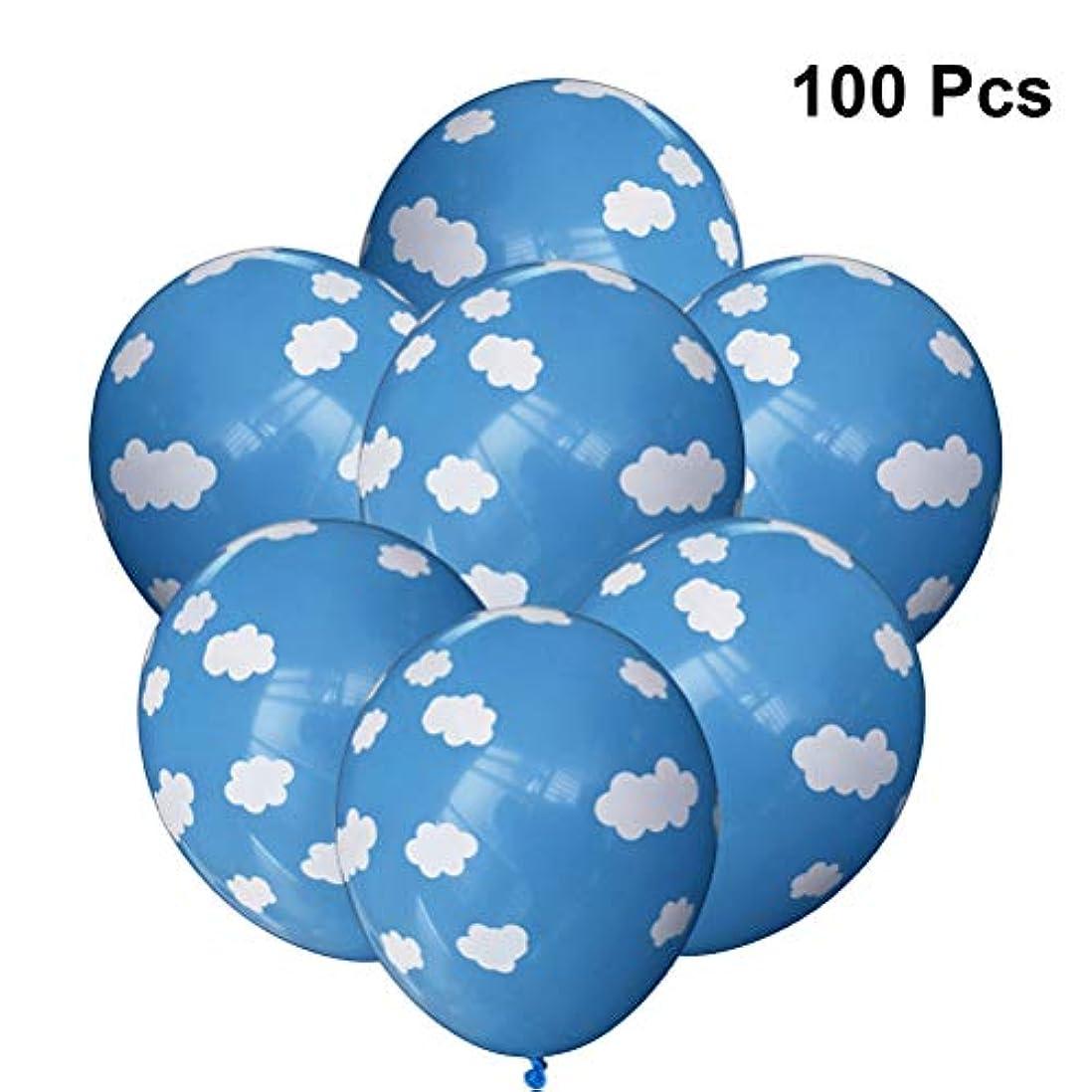 追い払う修理可能偉業LEDMOMO 100個バルーン空雲プリントラテックス風船パーティー結婚式の装飾12インチ(ブルー)