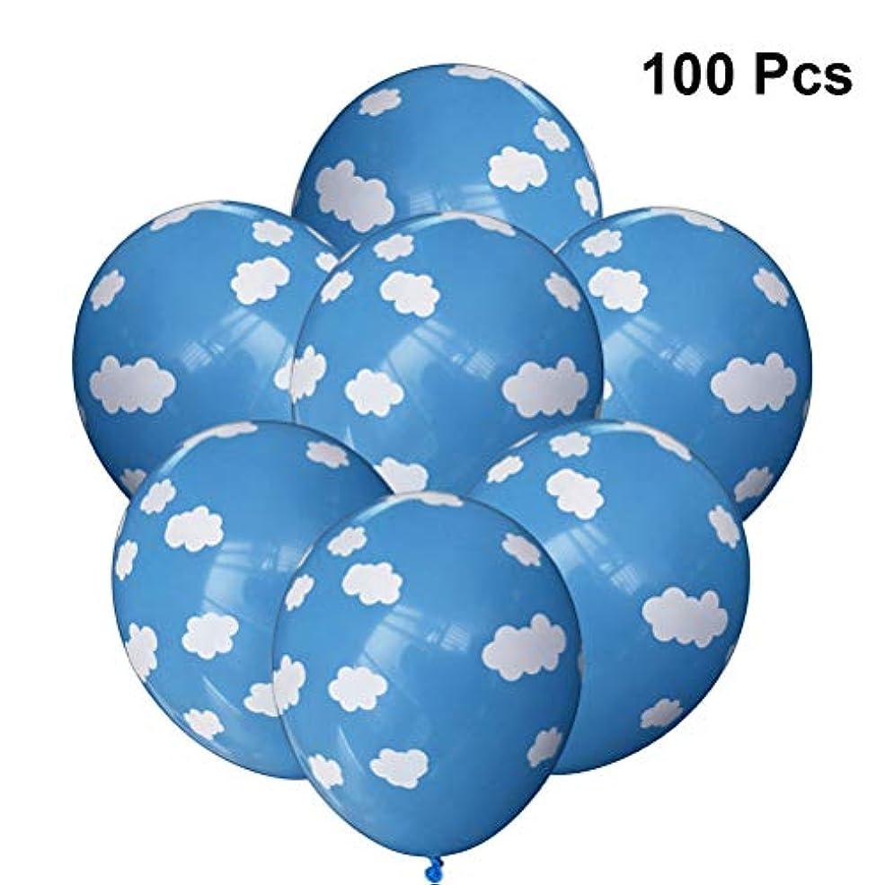 満たすヒゲ半ばLEDMOMO LEDMOMO 100個バルーン空雲プリントラテックス風船パーティー結婚式の装飾12インチ(ブルー)