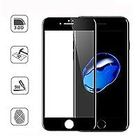 [2個]フルカバー3D強化ガラス保護フィルムスクリーンプロテクターガラス9H硬度用 Apple iPhone 7 A1660 A1778/7 Plus A1661 A1784/[アンチスクラッチ] [アンチフィンガープリント] [ノーバブル] [ケースフレンドリー] [防爆] (黒, iphone 7 plus)