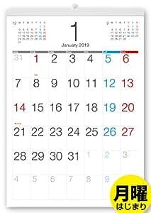 ボーナス付 2019年1月~(2020年1月付)月曜はじまり タテ長ビジネス壁掛けカレンダー A3サイズ[B]