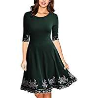 Twinklady Women's Embroidery Vintage Cocktail Dress Round Neck Elegant Midi Party Dress