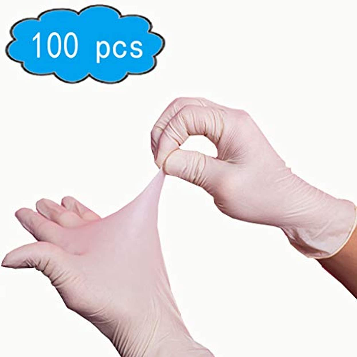 報告書オーナーリビジョンゴム手袋パウダーフリー/使い捨て食品調理用手袋/キッチンフードサービスクリーニンググローブサイズミディアム、100個入り、応急処置用品、サニタリー手袋 (Color : White, Size : L)