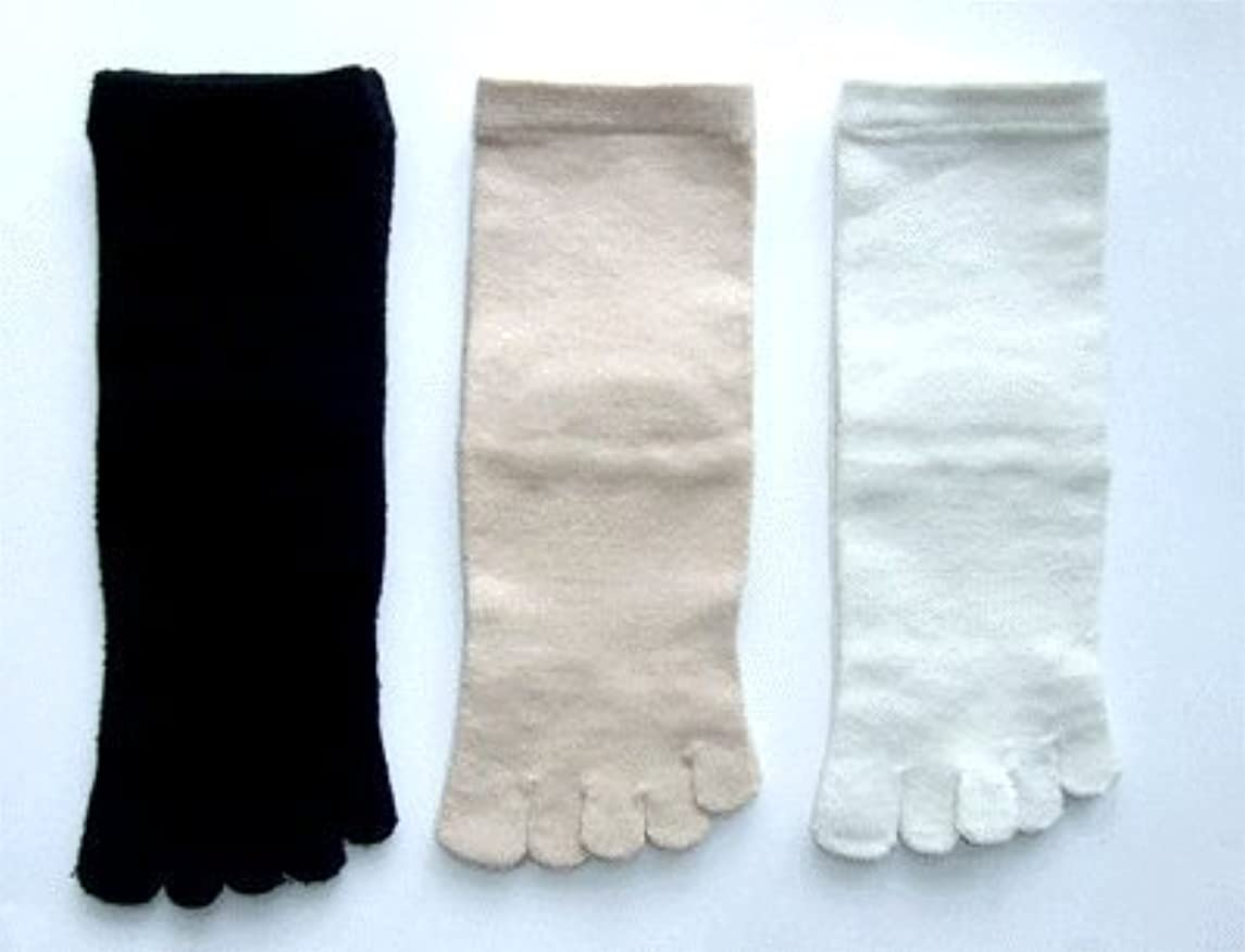 ブルゴーニュ敬意を表して所持日本製 こだわりのシルク 5本指ソックス レディース 22~24cm 3足組