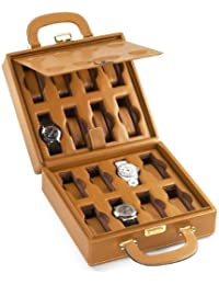 Scatola Del tempo16bレザーCollectors 16 Watch Carry Travel Case