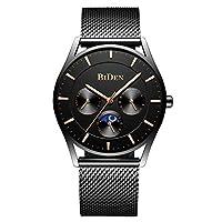 メンズウォッチ ファッション ミニマリスト超薄型クォーツ アナログレザー腕時計 30m防水 BD-0122-Black