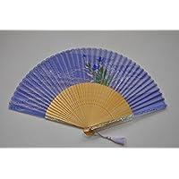 〈京扇子〉桔梗 / 女性用絹扇子 日本製 紺色