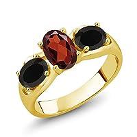 Gem Stone King 1.68カラット 天然 ガーネット 天然 オニキス シルバー925 イエローゴールドコーティング 指輪 リング