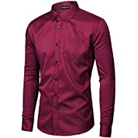 Musen Men Slim Fit Dress Shirt Casual Solid Elastic Button Down Long Sleeve Formal Shirt