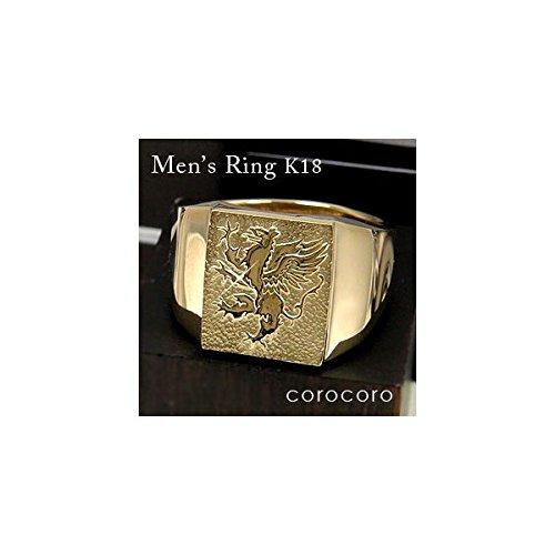 男の紋章入りゴールド印台リングK18指輪メンズリング