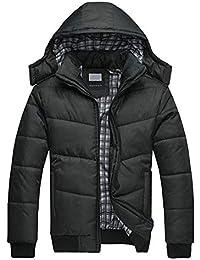 Mimoonkaka メンズ コート ブラック パッファ ジャケット ウォーム オーバー アウター パッディング フード付き ダウンウィンター 上質