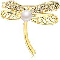 优品 水晶のブローチ トンボ真珠レトロな金色の胸飾り コートのスーツが飾られている 気質品 母の日のプレゼント ファッションアクセサリー
