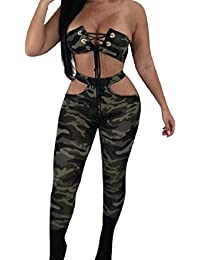 Tootess Womens Sexy Off-Shoulder Camouflage Color Crop Top+Long Pant