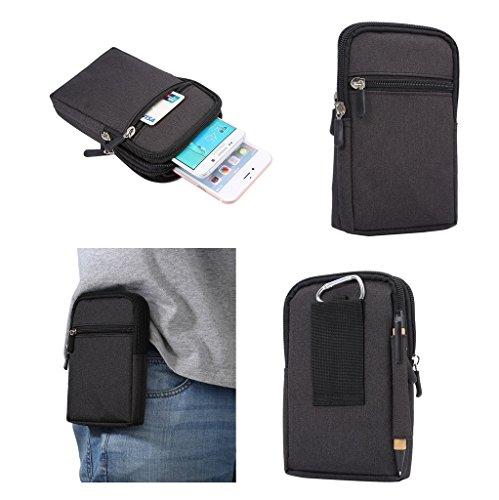 DFV mobile - ユニバーサル 多機能縦ストライプ ポーチ バッグ ケース ジッパーのカラビナを閉じる => Sony Xperia M5 DUAL > 黒 (17 x 10.5 cm)
