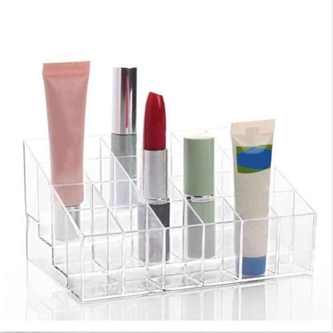 水平強打余裕があるBEE&BLUE 洗面所 化粧品 メイク 小物 収納 ボックス 収納スタンド コスメ 化粧品 口紅 香水 24 アクリルボックス 透明