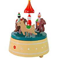 Konfaクリスマスクリエイティブ夢木製音楽ボックスクリスマスシックギフトfor Girls レッド