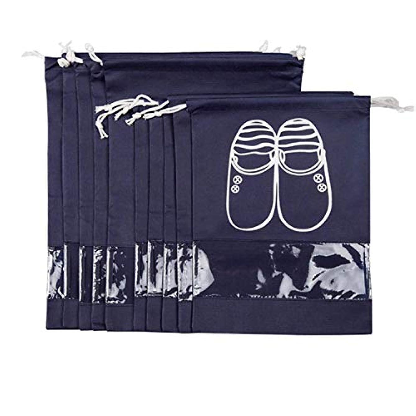 器用帝国代名詞RETYLY 女性男性用トラベルシューズバッグ、クリアビューウィンドウドローストリング付き 10個(ネイビー)