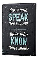 なまけ者雑貨屋 Speaking Knowledge ブリキ看板 壁飾り レトロなデザインボード ポストカード サインプレート 【20×30cm】