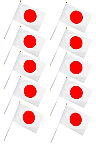 【TKY】 高品質 日本国旗 ミニ手旗 日の丸 Japan ワールドカップ スポーツ観戦 応援 送迎 祝日 10本 セット