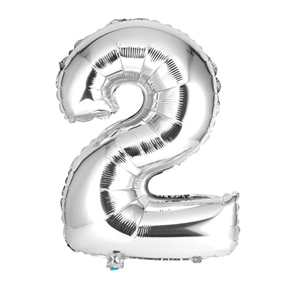 堀従来の鹿30インチシルバーナンバー箔風船数字エアバルーン誕生日パーティー結婚式の装飾エアーバルーンイベントパーティー用品 - シルバー